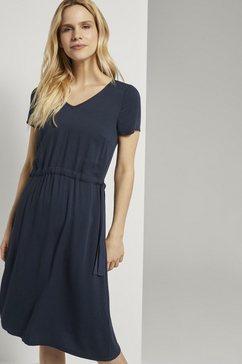 tom tailor zomerjurk gestructureerde jurk met rijgkoord blauw