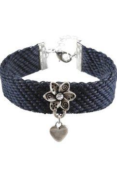 lusana folklore-armband dames met katoenen band blauw