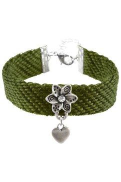 lusana folklore-armband dames met katoenen band groen
