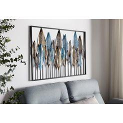 home affaire sierobject voor aan de wand veer wanddecoratie, wanddecoratie, van metaal, motief veren blauw