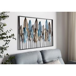home affaire wanddecoratie »veren« van metaal blauw
