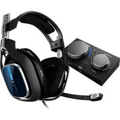 astro »a40 tr headset + mixamp pro tr -nieuw- (ps4, ps3, pc, mac)« gamingheadset (met snoer) blau schwarz