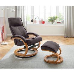 my home relaxfauteuil  hocker »lille« van zacht luxe-microgaren, houten onderstel, zithoogte 46 cm braun
