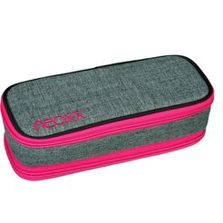 neoxx etui catch, pink and famous van gerecyclede petflessen grijs