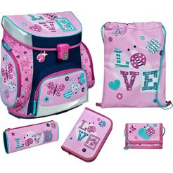 scooli schooltas »campus fit, ladybug« (set, 5 tlg.) roze