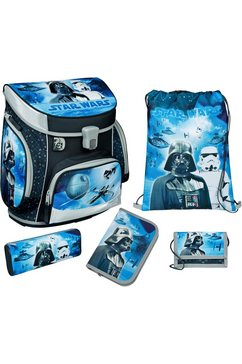 scooli schooltas »campus fit, star wars« (set, 5 tlg.) blauw