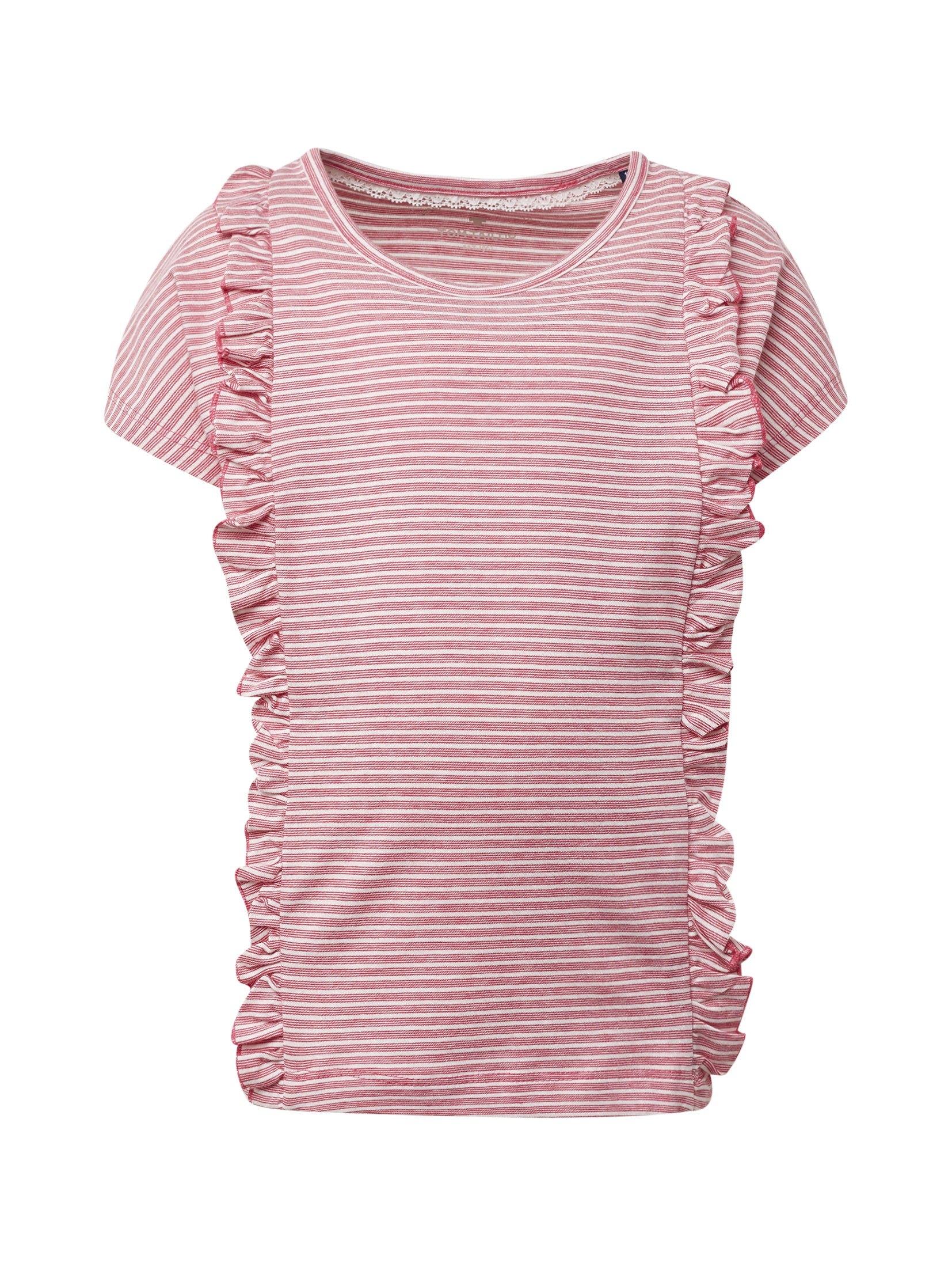 TOM TAILOR shirt met korte mouwen »Gestreept shirt met ruchedetails« in de webshop van OTTO kopen