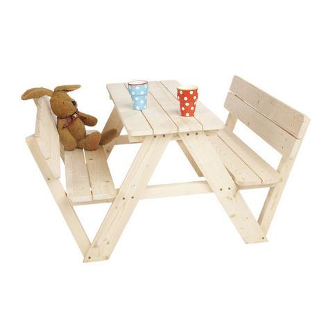 Picknickbank voor kinderen Nicki 4-zits met rugleuning massief vurenhout, Pinolino