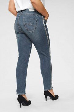 blue monkey slim fit jeans »strepen opzij met luipaardprint en glinstersteentjes« blauw