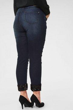 blue monkey slim fit jeans »turn up met zwarte pailletten« blauw