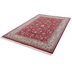 wollen vloerkleed, »benares isfahan«, delavita, rechthoekig, hoogte 12 mm, met de hand geknoopt rood