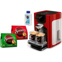 senseo-koffiepadautomaat hd7865-00 quadrante, met coffee boost, xl waterreservoir, wit rood