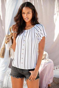 lascana shirt met carmenhals met knopen in trendy hoorn-look wit