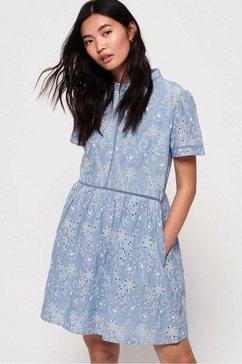 superdry kanten jurk »shelly schiffli dress« blauw