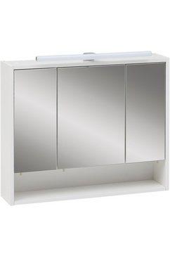 schildmeyer spiegelkast sailor breedte 70 cm, 3-deurs, ledverlichting, schakelaar--stekkerdoos, rekvak, glasplateaus, soft-closetechniek, made in germany wit