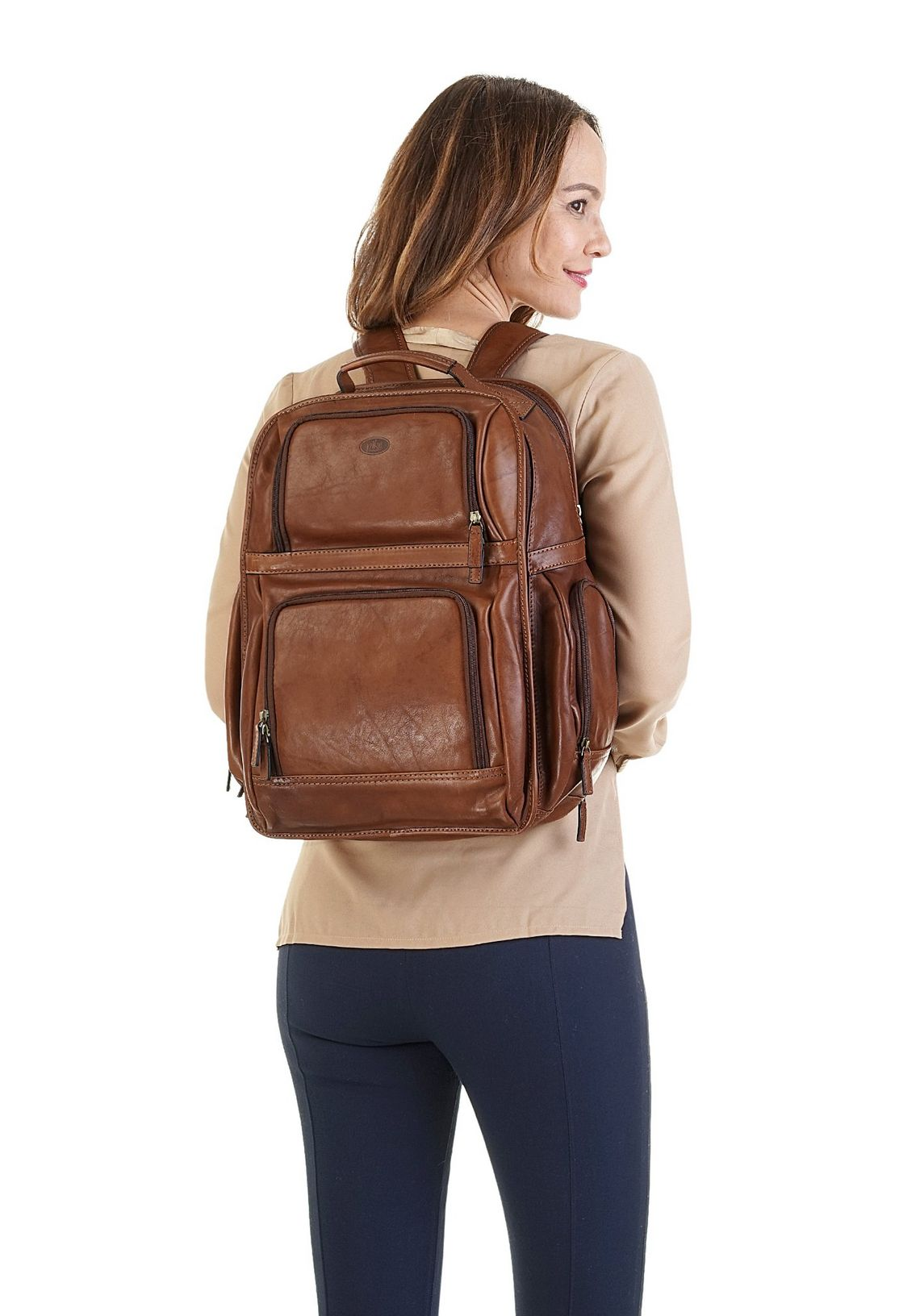 Piké laptop-rugzak makkelijk besteld  bruin