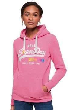 superdry capuchonsweatshirt »vintage logo pop entry hood« roze