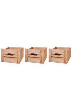 konifera set: bewaarbox »venezia landhuis«, 3 stks, pine, b - d - h: 26 x 29,5 x 19,5 cm beige