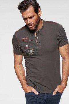 man's world henleyshirt met contrastkleurige naden grijs