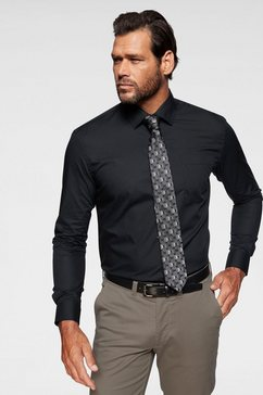 man's world city business businessoverhemd met borstzak zwart