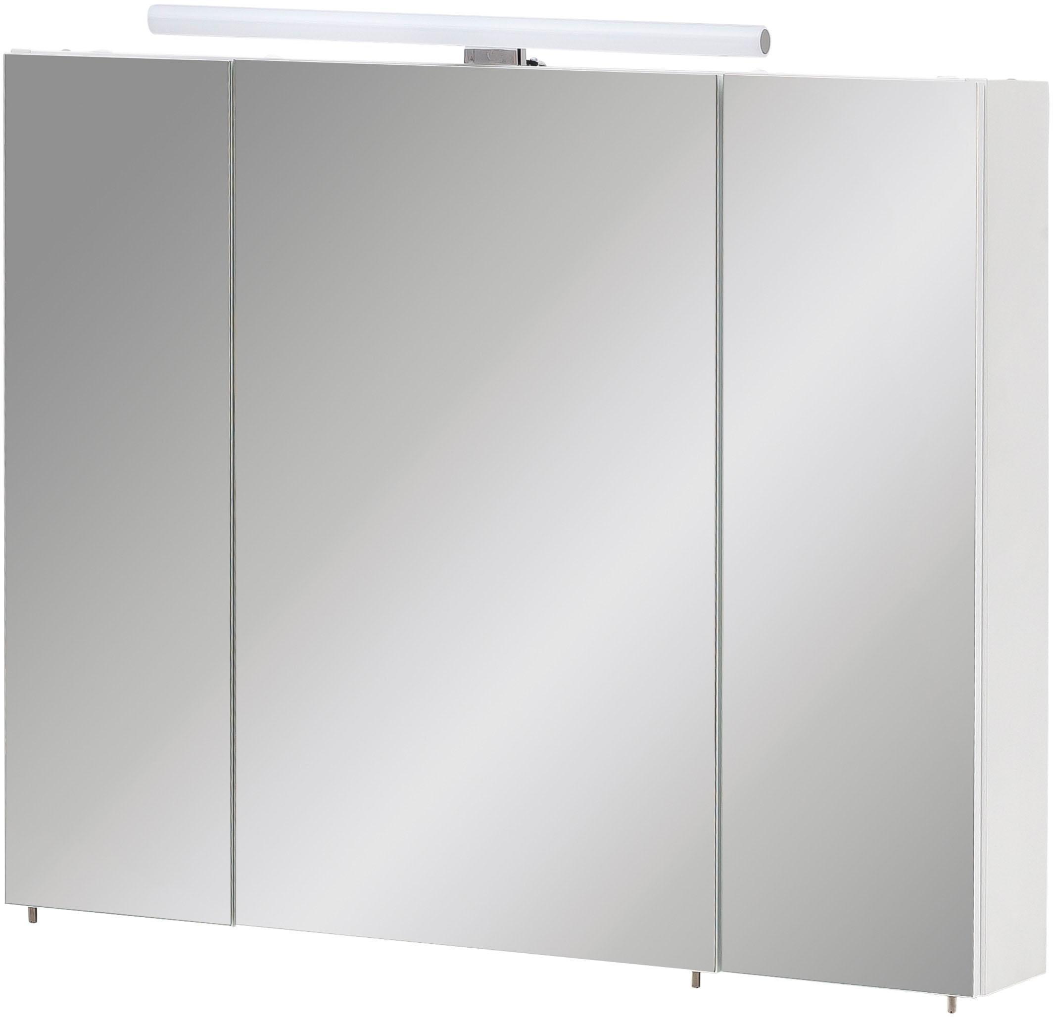 Schildmeyer Spiegelkast Nikosia Breedte 80 cm, 3-deurs, ledverlichting, schakelaar-/stekkerdoos, glasplateaus, Made in Germany online kopen op otto.nl