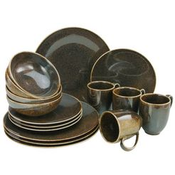 creatable combi-servies 'shiny metallic' (16-delig), porselein bruin