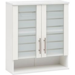 schildmeyer hangend kastje nikosia breedte 60 cm, met glasdeuren, hoogwaardige mdf-fronten, metalen grepen wit