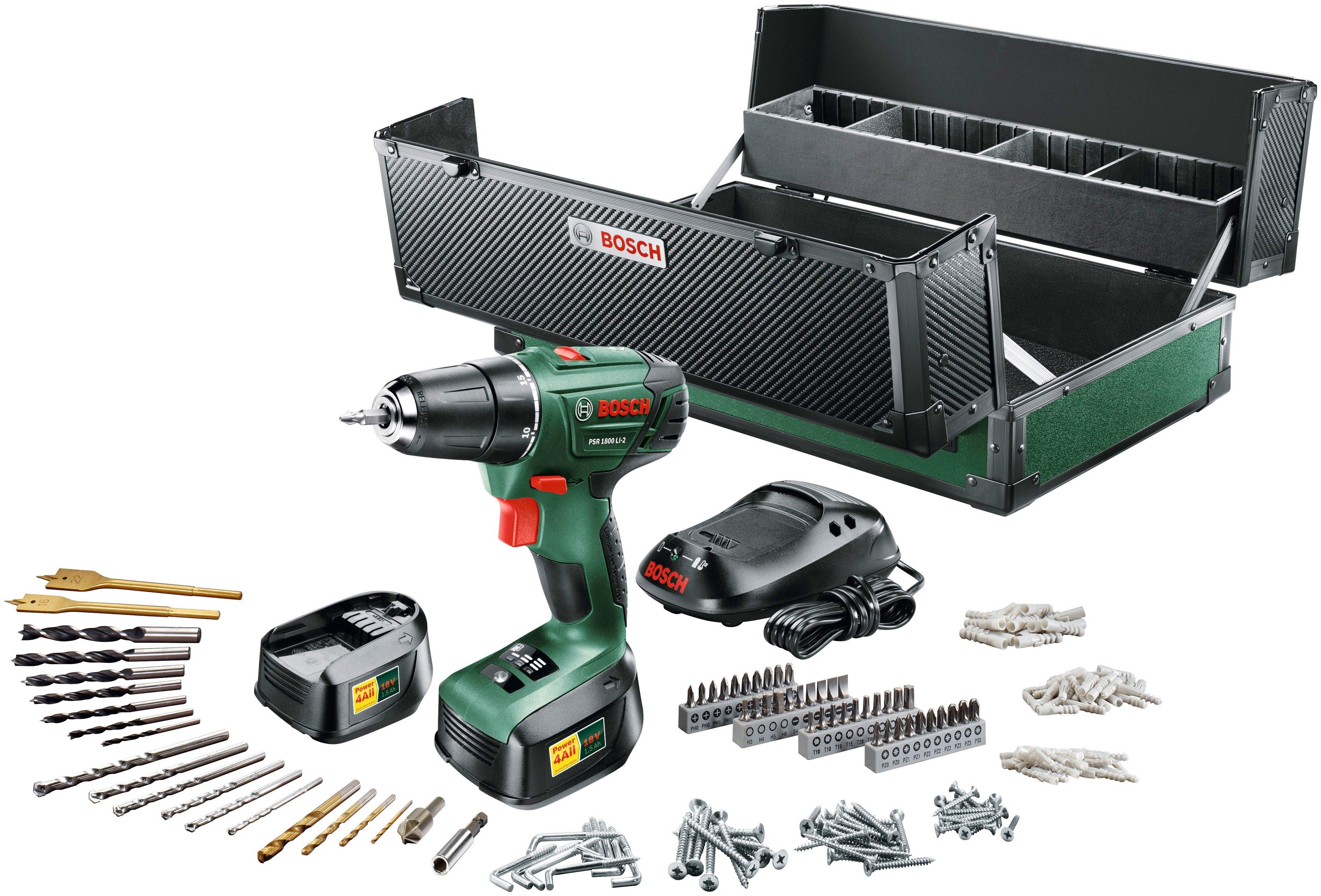 Bosch complete set: Accuschroevendraaier 18 V, 241 stks. Accessoire set, incl. 2x batterij - verschillende betaalmethodes