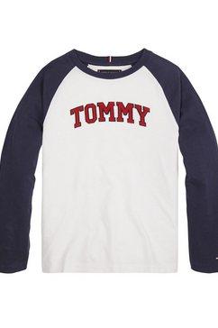 tommy hilfiger shirt met lange mouwen »tommy applique logo l-s tee« wit