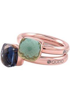 qudo ringenset firenze small, o600097, o600098, o600099, o600100, o600101 met zirkoon (set, 2-delig) blauw