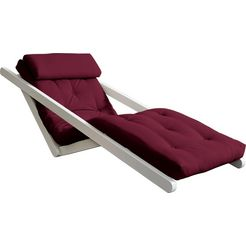 karup ligstoel met futonmatras en nekkussen rood
