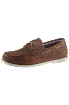 tommy hilfiger veterschoenen classic suede boatshoe in mocassin-look bruin