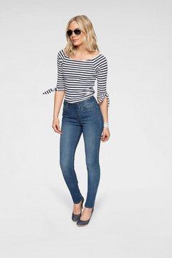arizona shirt met carmenhals off-shoulder verschillend te dragen, met knoopdetail blauw
