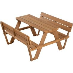 roba kinder-picknickbank »picknick for 4 outdoor deluxe met rugleuningen« (set, 1-delig) bruin