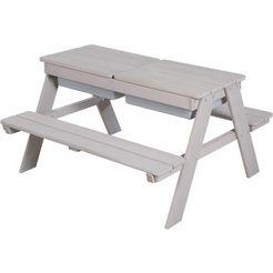 roba kinder-picknickbank »outdoor deluxe met speelbakken« (set, 1-delig) grijs