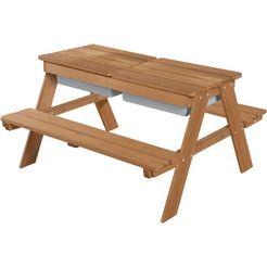 roba kinder-picknickbank »outdoor deluxe met speelbakken« (set, 1-delig) bruin
