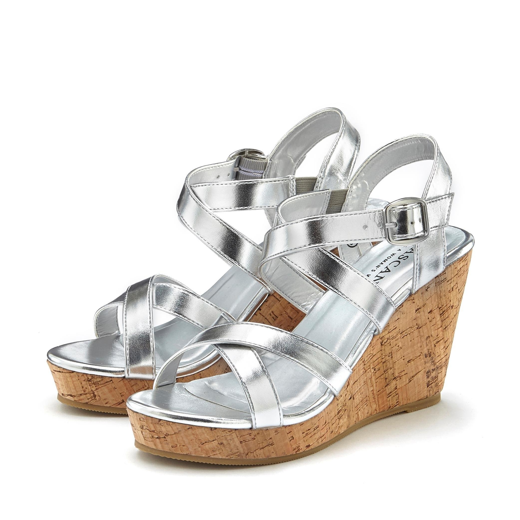 LASCANA sandaaltjes met sleehak en in metallic-look - verschillende betaalmethodes