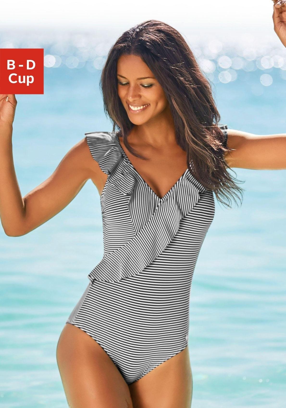 Lascana Badpak in off-shouldermodel en met volants in de webshop van OTTO kopen