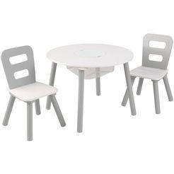 kidkraft kinderzithoek tafel met netmandje en 2 stoelen (3-delig) wit