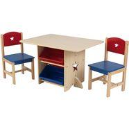 kidkraft kinderzithoek tafel met opbergboxen en 2 stoelen, sterretje (3-delig) multicolor