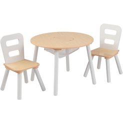 kidkraft kinderzithoek »ronde opbergtafel« (3-delig) beige