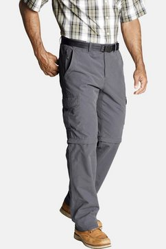 jan vanderstorm zip-off-broek jannis band met elastische inzetten grijs