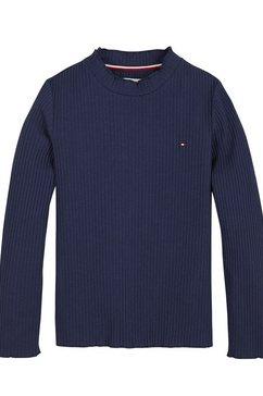 tommy hilfiger shirt met lange mouwen »essential stripe rib tee« blauw