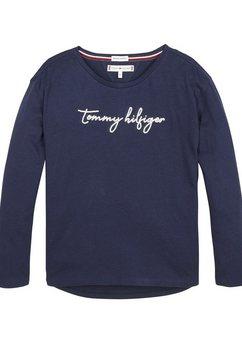 tommy hilfiger shirt met lange mouwen »sequins graphic tee« blauw