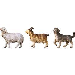ulpe woodart kribbefiguur schaap, geit, hond handwerk, hoogwaardig houtsnijwerk (set, 3 stuks) multicolor