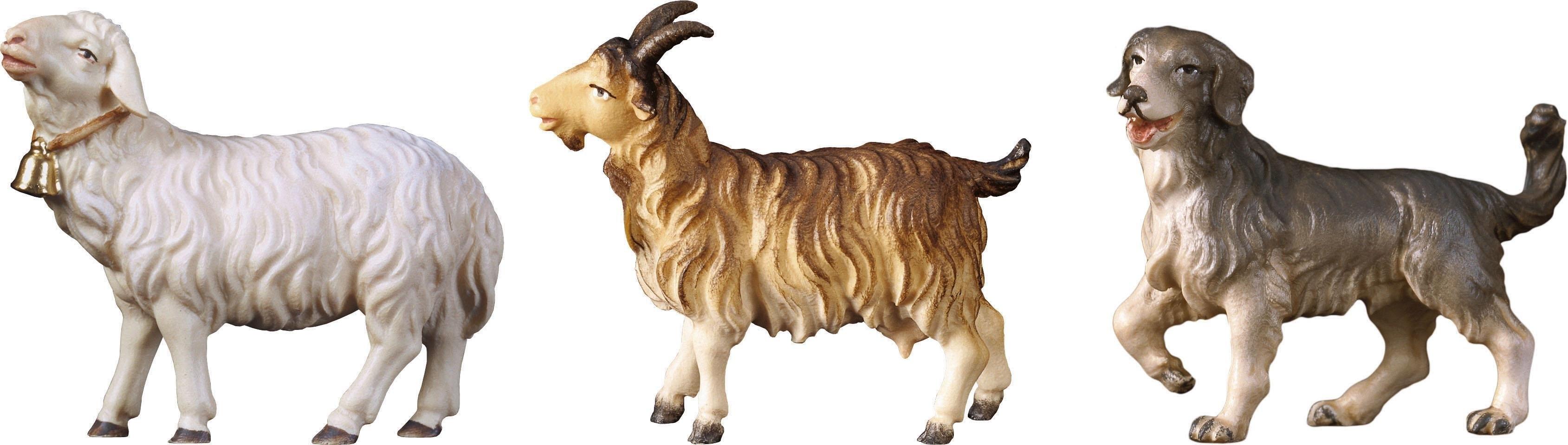 ULPE WOODART kribbefiguur Schaap, geit, hond Handwerk, hoogwaardig houtsnijwerk (set, 3 stuks) voordelig en veilig online kopen