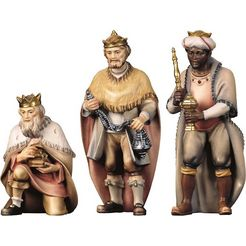 ulpe woodart kribbefiguur hl. drie koningen handwerk, hoogwaardig houtsnijwerk (set, 3 stuks) multicolor