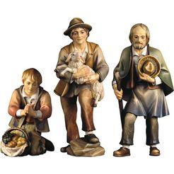 ulpe woodart kribbefiguur drie herders handwerk, hoogwaardig houtsnijwerk (set, 3 stuks) multicolor
