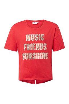 tom tailor shirt met korte mouwen »t-shirt mit glitzer-print« rood