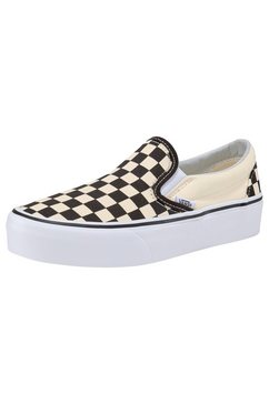 vans plateausneakers classic slip-on platform checkerboard zwart